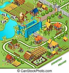 Medieval Village And Castle Illustration
