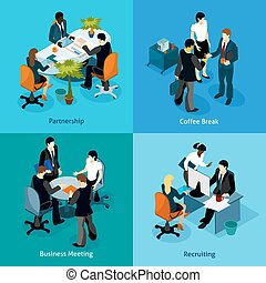 Business People Isometric Icon Set - Business people...