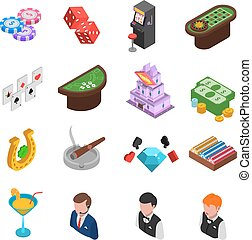 Casino Isometric Icons Set - Casino gambling isometric icons...