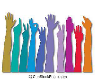 Hands of all races rainbow vector background