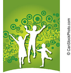 kids jumping - Vector background of kids jumping with space...