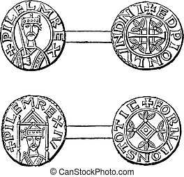Norman currencies, vintage engraving. - Norman currencies,...