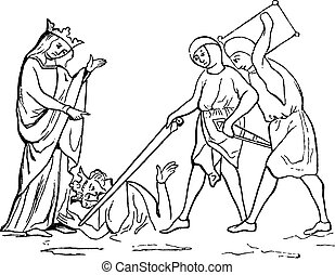 Murder of Ethelbert, vintage engraving - Murder of...