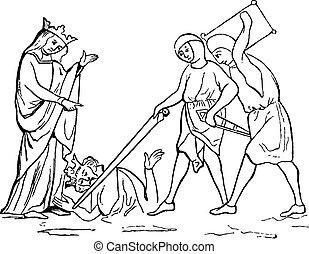 Murder of Ethelbert, vintage engraving. - Murder of...