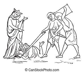 Murder of Ethelbert, vintage engraving. - Murder of...