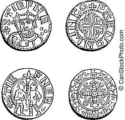 Coins minted during the reign of Etienne, vintage engraving...