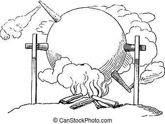 Application of aeolipile the rotisserie, vintage engraving.