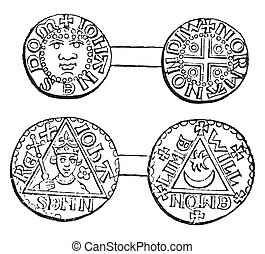 Coins minted during the reign of King John, vintage...
