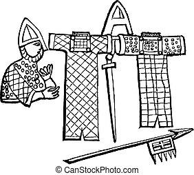 Norman armor, vintage engraving. - Norman armor, vintage...