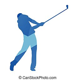 Golf player, golf swing, blue abstract vector silhouette