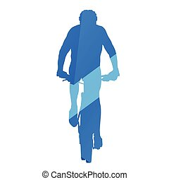 Mountain biker, front view, cycling, abstract blue vector...
