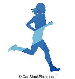 Running woman, run, jog, abstract blue vector silhouette