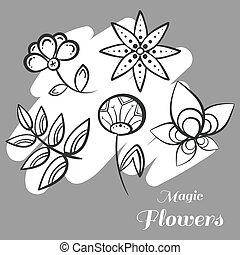 Set Magic Flowers On Gray