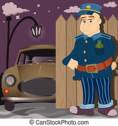 Car keeper cartoon - illustration of a night car keeper in...