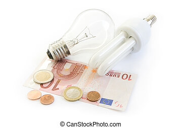 light bulb and energy saving lamp with euro money