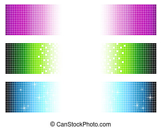 set of bright multicolored banners in pixel style with...