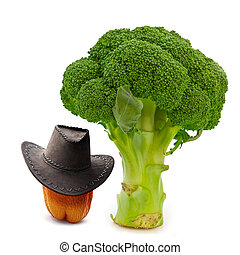 cool vegetables - paprika in cowboy hat near green broccoli...