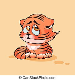 Tiger cub confused - Vector Stock Illustration isolated...