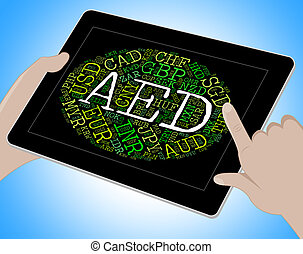 Aed Currency Indicates United Arab Emirates And Banknotes -...