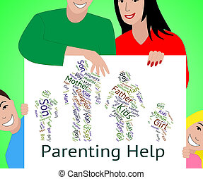 Parenting Help Represents Mother And Child And Advice -...