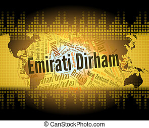 Emirati Dirham Means United Arab Emirates And Banknote -...