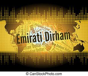 Emirati Dirham Means United Arab Emirates And Banknote -...