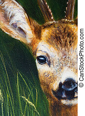 painting deer on canvas, and grass background. - painting...
