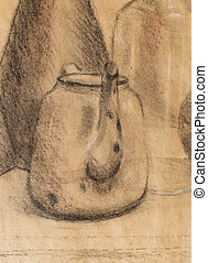 Drawing tea kettle on old paper. Original hand draw. -...