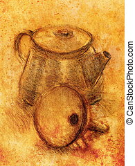Drawing tea kettle on old paper Original hand draw - Drawing...