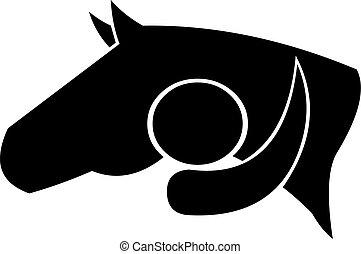 Horse Lover - Man hugs a horse. Vector file