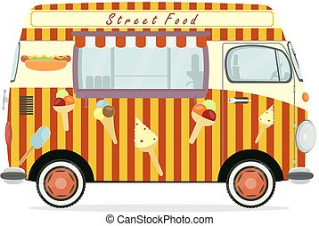 Funny cartoon street food truck on a white background. Flat...