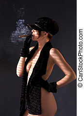 woman in black astrakhan smoking cigar - sexy woman in black...