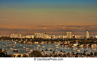 Many Boats in Biscayne Bay - Many sailboats anchored in...