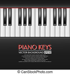 Piano keys, vector background - Background with realistic...