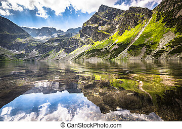Green water mountain lake Morskie Oko, Tatra Mountains,...