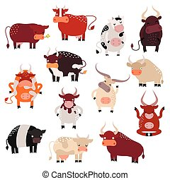 Cartoon cow action set, with cute lovely heifer in different...