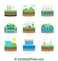 Alternative energy source electricity power resource eco set...