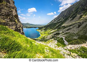 Green water mountain lake Morskie Oko, Tatra Mountains,...