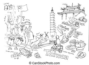 Travel to Taiwan illustration drawing landmarks and fun...