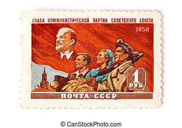 communist postage stamp - photo shot of communist postage...