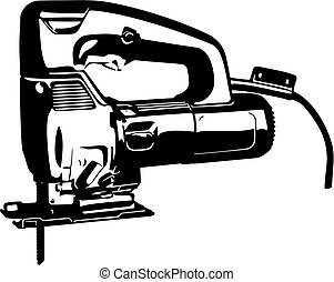 jig saw tool - Vector clip art contour lines illustration...