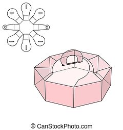Box die cut - Vector Illustration of Gift craft Box for...