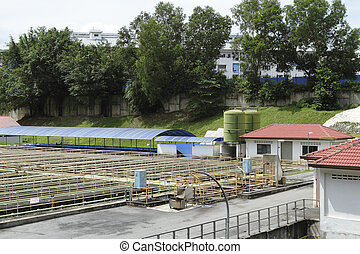 Sewage processing plant - View of a sewage processing plant