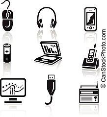 Electronics icon set. Black sign on white background