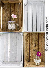 Original home decoration made from wood boxes - Close up of...