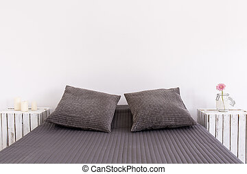 Perfect bed for two - Light bedroom with white wall, large...