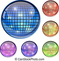Color glass disco ball 3D vector icons isolated on white background.