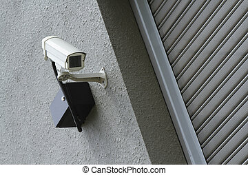 A security camera mounted on a wall outside a shop