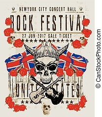 poster for a rock music festival with skull and guitar