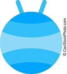 Fitball or large sports rubber ball for fitness exercises healthy lifestyle flat  illustration.